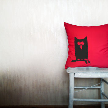 Owl pillow decorative throw pillow cover red cotton toss bird pillow cover hand painted cover rustic bedding bedroom set 18x18 inches
