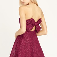 Lace Affair Bow-Back Strapless Dress