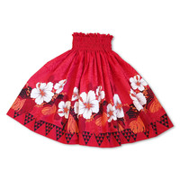 aloha red single hawaiian pa'u hula skirt