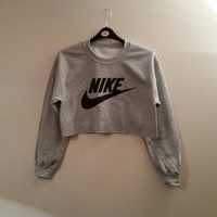 unisex customised nike cropped jumper sweatshirt  festival swag