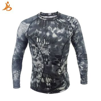 High Elastic Running T-shirt Men Long Sleeve Camouflage Army Green Vest Top Gym Sport Clothing Sportswear Men's Sports T-shirts