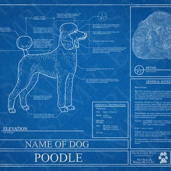 Customized Poodle Blueprint / Poodle Art / Poodle Wall Art / Poodle Poster / Poodle Print