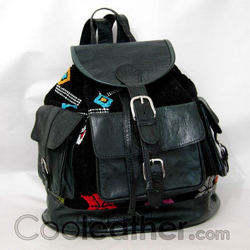 MyMate2 - Large Leather Backpack with Creative Kilim