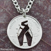 Dancer Shoe necklace, Girl Ballet slipper jewelry, hand cut coin by NameCoins