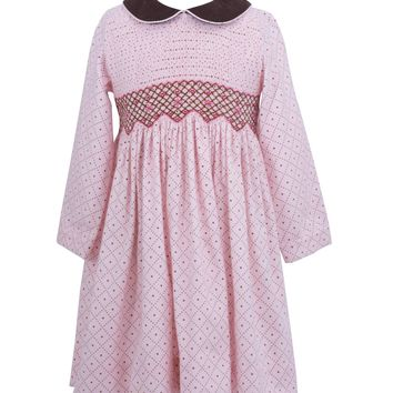 Smocked Geometric Pink with Brown Print Dress