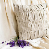 Eco Friendly Ruched Pillow Cover in Natural Grey, 16 x 16, Linen and Cotton Cushion, Shabby Chic Bedding, French Country Neutral Home Decor
