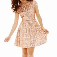 Be Smart Cap-Sleeve Sequin Dress