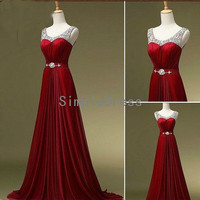 New Arrival A-line Straps Sleeveless Sweep Train Chiffon Fashion Cheap Long Prom Dress / Evening Dress With Beading from Simple Dress