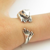 Shiny Silver Frog Animal Wrap Ring