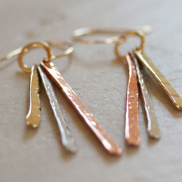The Mini Urban Landscape Earrings / Delicate Hammered Long Spears in Copper, Nu Gold and Silver / Unique / Hand Hammered