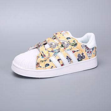 Adidas Superstar White Yellow Multi Velcro Toddler Kid Shoes - Best Deal Online