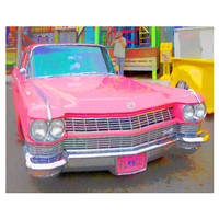 Classic 65 Pink Cadillac, Old Sixties Car, Cruising the Coast, Mary Kay Car, 8x10 11x14 16x20 Giclee Print - Hands off my Flamingo - Korpita