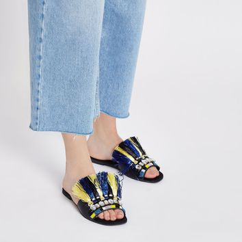 Dark blue fringe embellished sandals - Sandals - Shoes & Boots - women