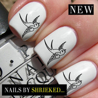 Swooping Swallow Decal Trendy Nail Art Water Transfers Stickers Wraps NOT Caviar