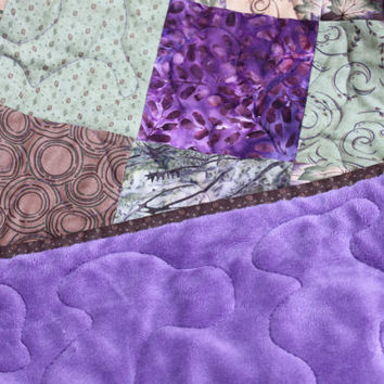 Lap Quilt - Moda - Holly Taylor -Cutting Corners - Dragonfly Summer Fabric Line- Northwoods Brown Purple Green - Minky BackingHandmade Quilt