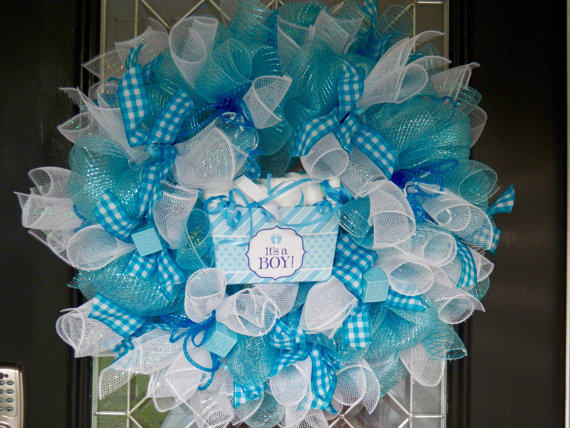 Gift for baby new baby welcoming wreath from for Baby boy hospital door decoration