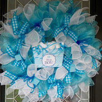 Gift for Baby, New Baby Welcoming Wreath, Hospital Door Hanger, It's A Boy, Baby Shower Decoration