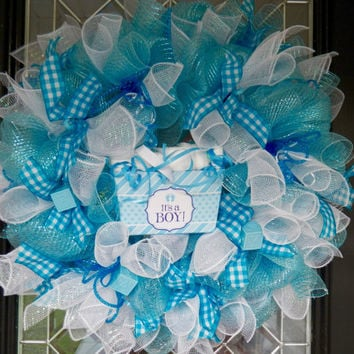 Best its a boy wreath products on wanelo for Baby boy door decoration