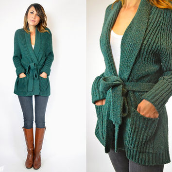 knitted FOREST GREEN bohemian belted wrap CARDIGAN cozy sweater, extra small-medium