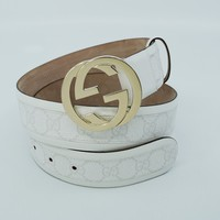 Gucci Unisex GG Plus Belt With Interlocking G Buckle, White, Size 85, MSRP $395