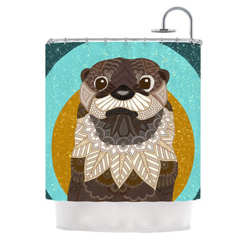 "Art Love Passion ""Otter in Water"" Blue Brown Shower Curtain"