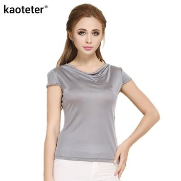 100% Pure Silk Women's T-Shirts Femme Summer Short Sleeve Tops Women Tees Shirt Female Cowl Collar Sleevelet Bottoming Shirts