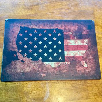 United States Flag Map Tin Metal Sign 12x8
