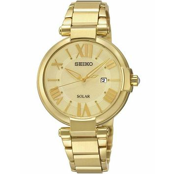 Seiko Solar Recraft Ladies Watch - Gold-Tone - Champagne Dial - Date - Bracelet