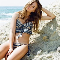 Fashion Sexy Multicolor Stripe Strap V-Neck Knit Vest Bikini Set Swimsuit Swimwear