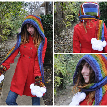 DIY Crochet Pattern PDF - Rainbow Hooded Scarf with Cloud Pockets