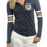 New Orleans Saints Womens Vintage Raglan Top | SportyThreads.com