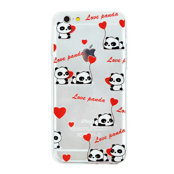 Love Panda Collage Dense Soft Silicone TPU Clear Transparent Phone Back Case Cover for iPhone 5 5s 6 6s 7 7 Plus
