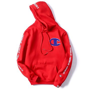 Champion x Bape joint autumn and winter models men and women couple hooded sweater F-A-KSFZ Red