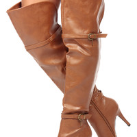 Tan Faux Leather Over the Knee High Heel Boots