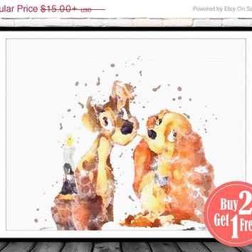 ON SALE: lady and the tramp, disney nursery, disney poster, Illustration disney, kids poster, disney wall art, disney watercolor, childrens