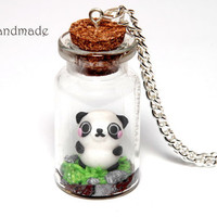 Cute panda in a glass jar necklace