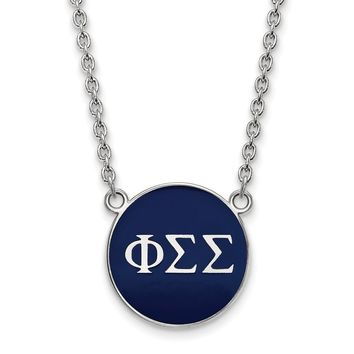 Sterling Silver Phi Sigma Sigma Large Enamel Necklace