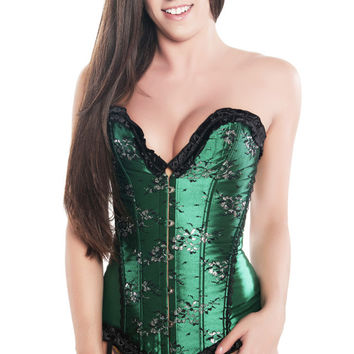 Sexy Satin Green Steel Busk Closure Party Corset Top