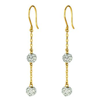 14K Yellow Gold Shiny Cable Chain Link with 2 White Crystal Ball Drop Earring