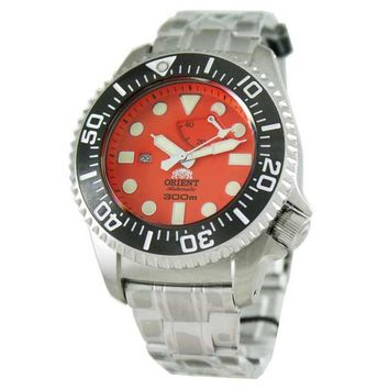 Orient EL02001M Men's Automatic Stainless Steel Orange Dial Power Reserve Watch