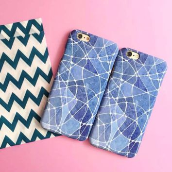 Blue Gem Pattern Iphone 7 7Plus &6 6S Plus Cover Case + Nice Gift Box