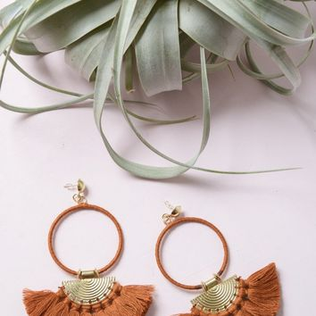 Bohemia Tassel Fan Hoop Earrings - Clay