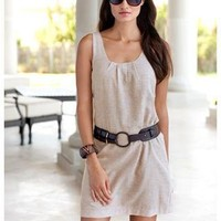 BELTED LINEN TANK DRESS | Body Central