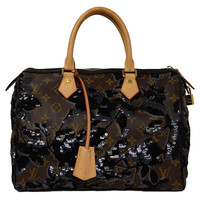 Louis Vuitton 2010 Monogram Fleur de Jais Sequin Speedy 30 Bag