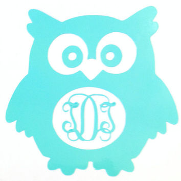 Monogrammed Owl Vinyl Decal for Laptop, Car, or Anything that Comes to Mind!