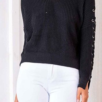 She's In Control Long Sleeve V Neck Lace Up Crop Pullover Pattern Sweater - 4 Colors Available