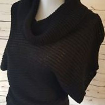 Bebe Women's sz S small Black cowl neck See Through Sweater
