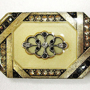 Vintage Catherine Popesco France Art Deco Pin Marcasites Set in Golden Resin