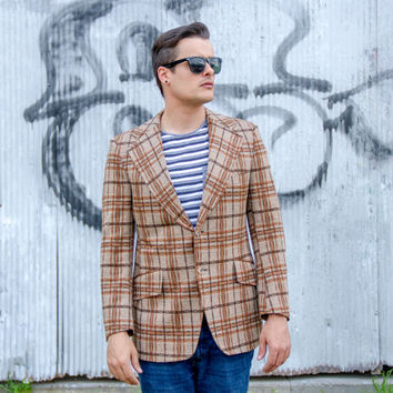 vintage 70s mens plaid blazer / mens sports coat / mens plaid jacket / 60s 70s menswear / mens vintage blazer jacket