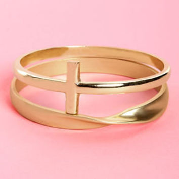 Twist Your Arm Party Gold Cross Bangle Set